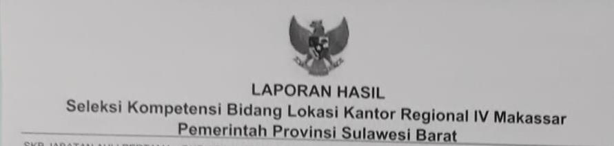 Hasil ujian SKB Lokasi Kanreg. IV BKN Makassar