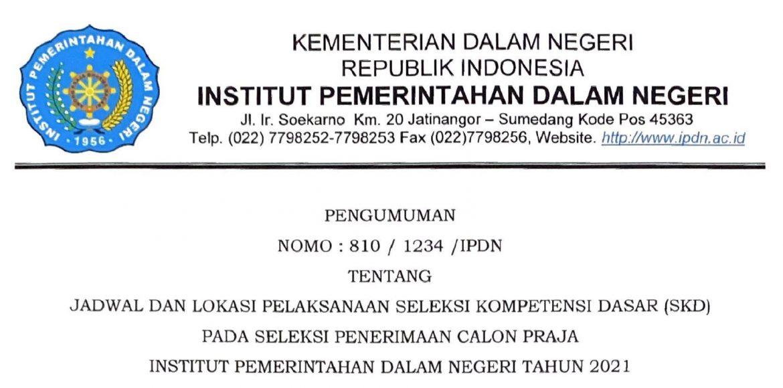 PENGUMUMAN JADWAL DAN LOKASI TEST SKD IPDN PROV. SULBAR 2021